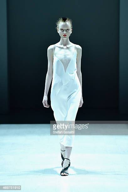 A model walks the runway during the Bianca Spender show at MercedesBenz Fashion Week Australia 2015 at Carriageworks on April 15 2015 in Sydney...