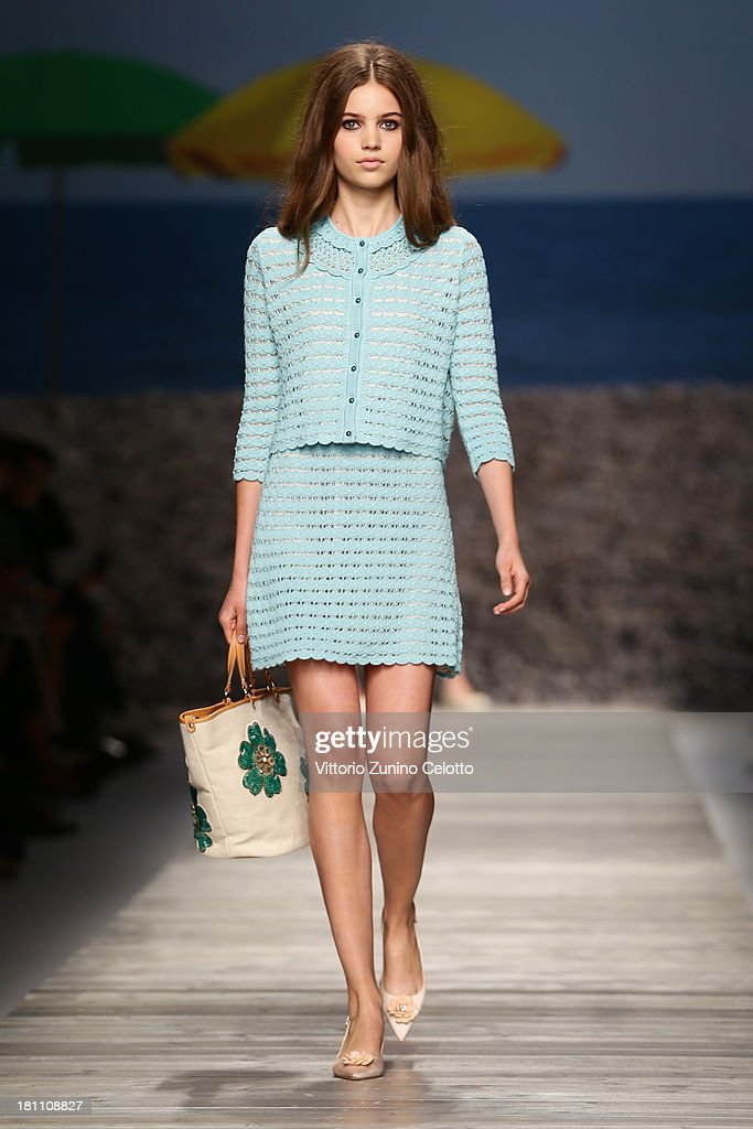 A model walks the runway during the Blugirl show as a part of Milan Fashion Week Womenswear Spring/Summer 2014 on September 19, 2013 in Milan, Italy.