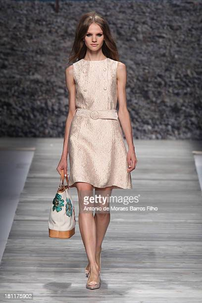 A model walks the runway during the Blugirl show as a part of Milan Fashion Week Womenswear Spring/Summer 2014 on September 19 2013 in Milan Italy