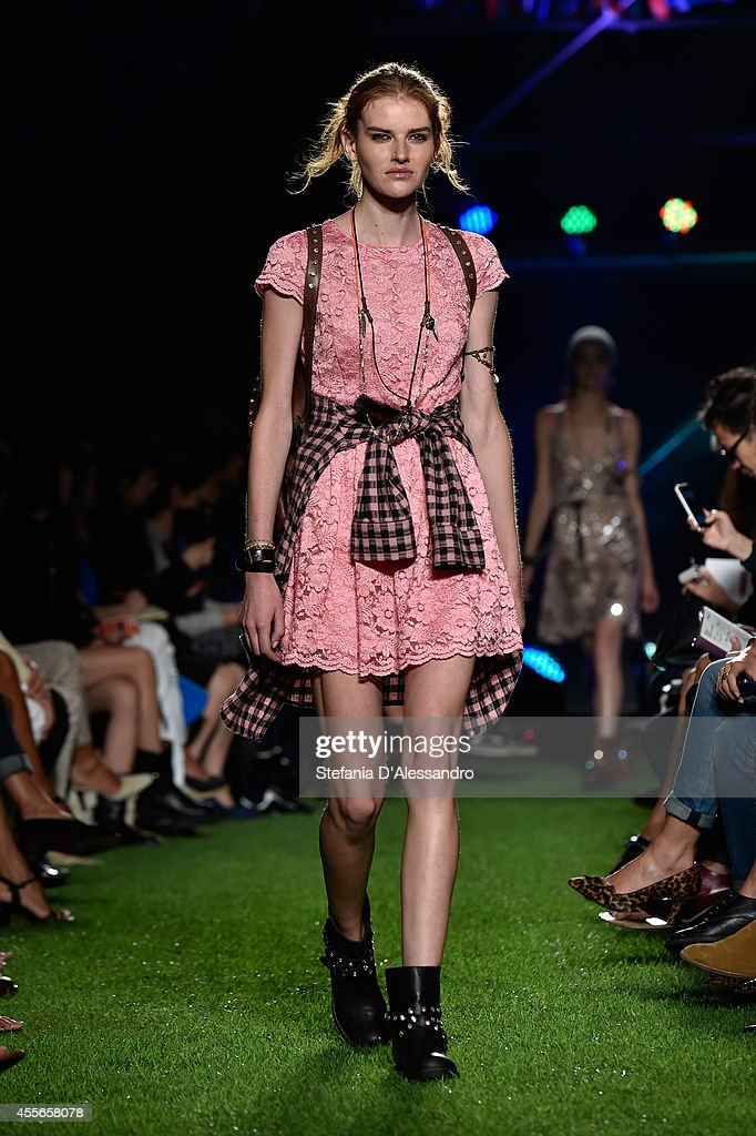 A model walks the runway during the Blugirl show as part of Milan Fashion Week Womenswear Spring/Summer 2015 on September 18, 2014 in Milan, Italy.
