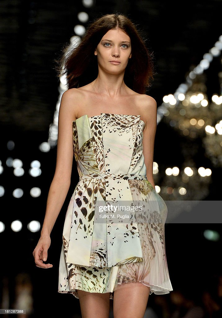 A model walks the runway during the Blumarine show as a part of Milan Fashion Week Womenswear Spring/Summer 2014 on September 20, 2013 in Milan, Italy.