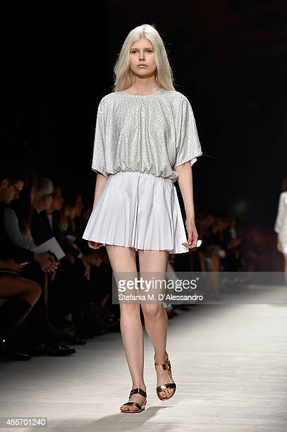 A model walks the runway during the Blumarine show as a part of Milan Fashion Week Womenswear Spring/Summer 2015 on September 19 2014 in Milan Italy