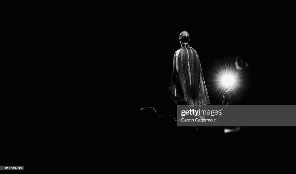 A model walks the runway during the Bora Aksu show as part of London Fashion Week Fall/Winter 2013/14 at Somerset House on February 15, 2013 in London, England.