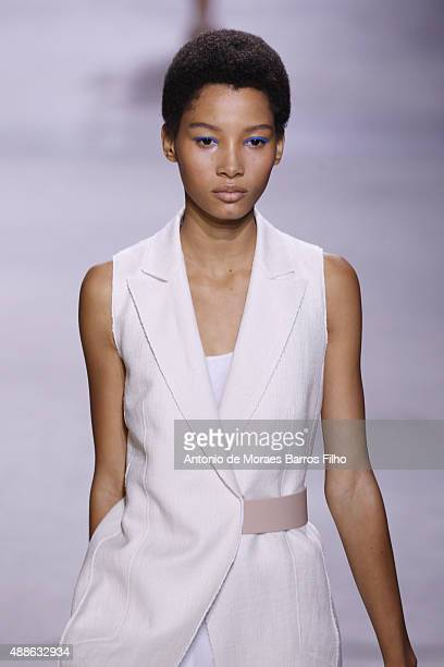 A model walks the runway during the Boss Womenswear show as a part of Spring 2016 New York Fashion Week on September 16 2015 in New York City