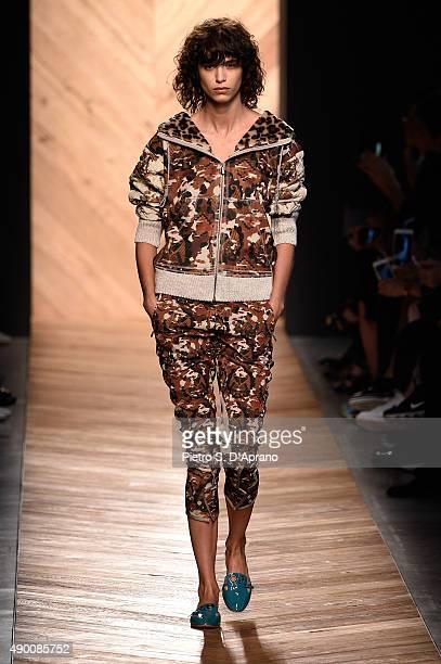 A model walks the runway during the Bottega Veneta fashion show as part of Milan Fashion Week Spring/Summer 2016 on September 26 2015 in Milan Italy
