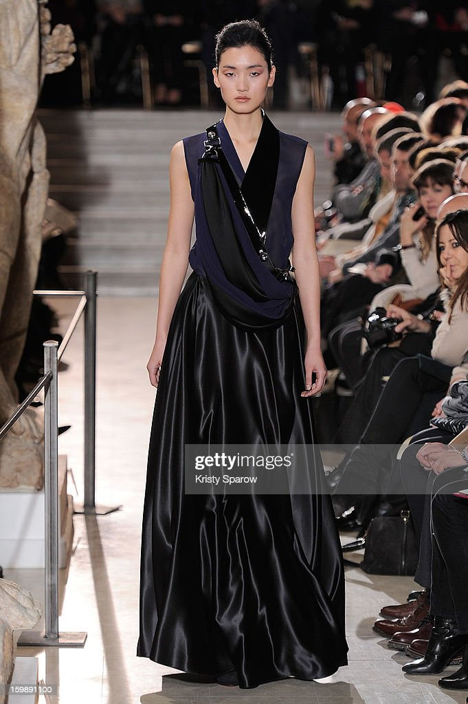 A model walks the runway during the Bouchra Jarrar Spring/Summer 2013 Haute-Couture show as part of Paris Fashion Week at Musee Bourdelle on January 22, 2013 in Paris, France.