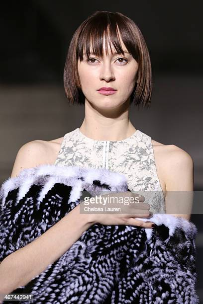A model walks the runway during the Brandon Sun show during MercedesBenz Fashion Week Fall 2014 at Industria Studios on February 6 2014 in New York...