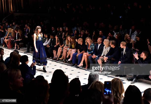 A model walks the runway during the Burberry 'London in Los Angeles' event at Griffith Observatory on April 16 2015 in Los Angeles California