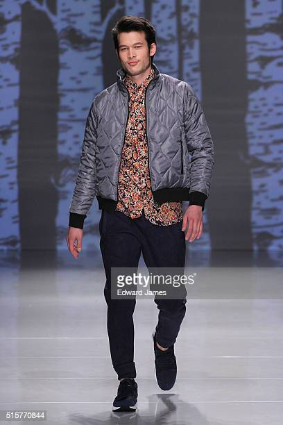 A model walks the runway during the Bustle fashion show at David Pecaut Square on March 15 2016 in Toronto Canada