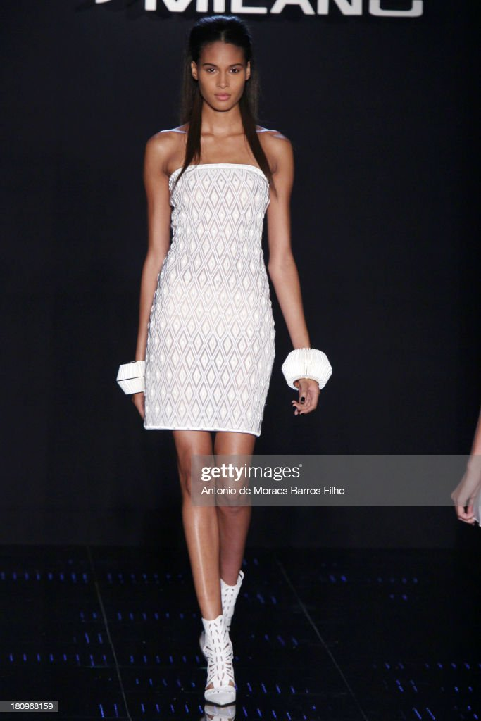 A model walks the runway during the Byblos Milano show as a part of Milan Fashion Week Womenswear Spring/Summer 2014 on September 18, 2013 in Milan, Italy.