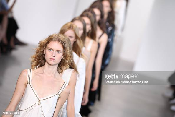 A model walks the runway during the Calvin Klein Collection show as a part of Spring 2016 New York Fashion Week at Spring Studios on September 17...