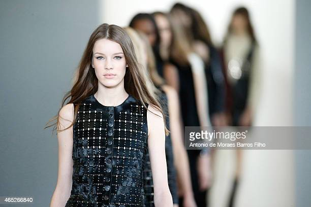 A model walks the runway during the Calvin Klein fall 2015 fashion show at on February 19 2015 in New York City