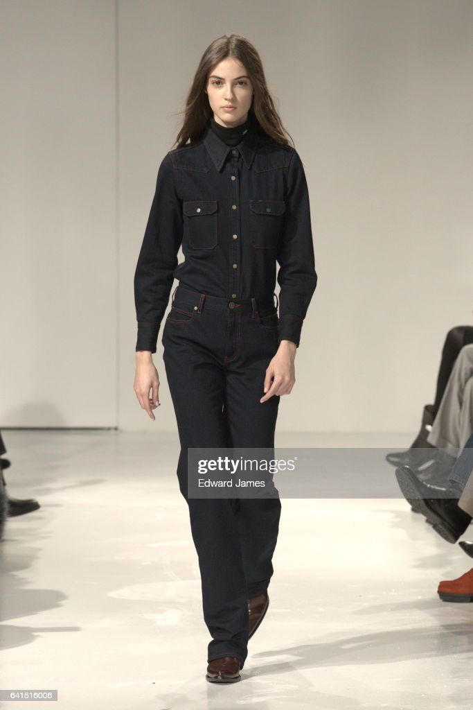 A model walks the runway during the Calvin Klein Fall/Winter 2017/2018 collection fashion show on February 10, 2017 in New York City.