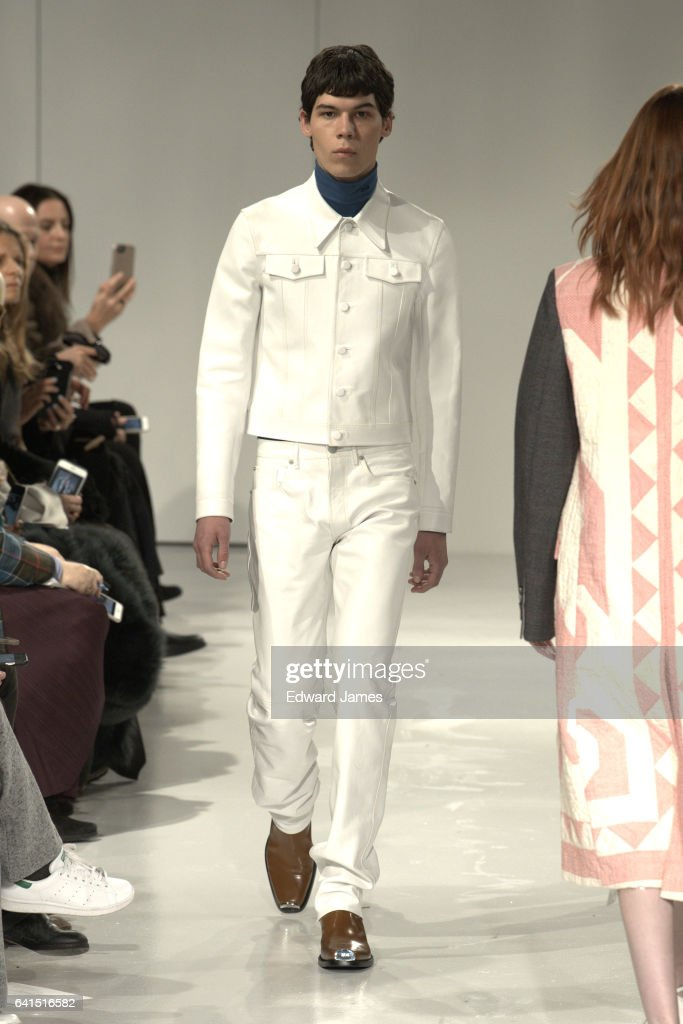A model walks the runway during the Calvin Klein fashion show on February 10, 2017 in New York City.
