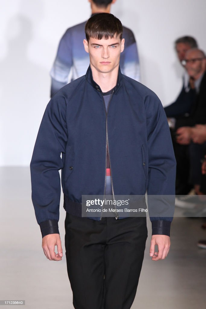 A model walks the runway during the Calvin Klein show as a part of Milan Fashion Week S/S 2014 on June 23, 2013 in Milan, Italy.
