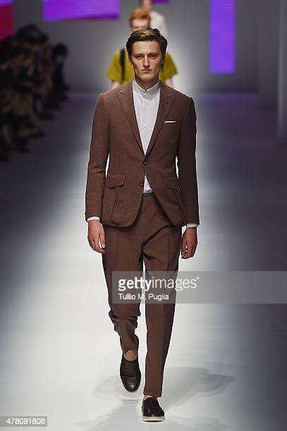 A model walks the runway during the Canali fashion show as part of Milan Men's Fashion Week Spring/Summer 2016 on June 22 2015 in Milan Italy