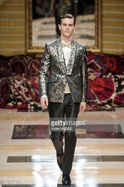A model walks the runway during the Carlo Pignatelli ready to Wear Spring/Summer 2013 show as part of the Milan Men Fashion Week on June 23 2012 in...