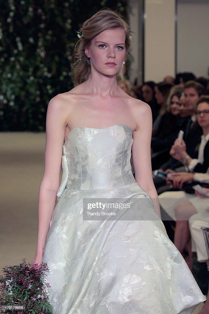 Model walks the runway during the carolina herrera bridal spring