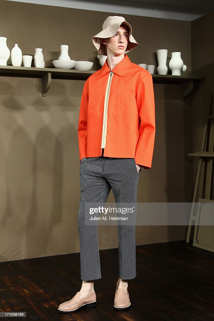 A model walks the runway during the Carven Menswear Spring/Summer 2014 show as part of the Paris Fashion Week on June 26, 2013 in Paris, France.
