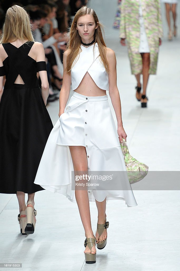 A model walks the runway during the Carven show as part of Paris Fashion Week Womenswear Spring/Summer 2014 on September 26, 2013 in Paris, France.