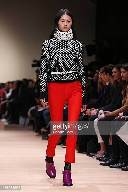 A model walks the runway during the Carven show as part of the Paris Fashion Week Womenswear Fall/Winter 2015/2016 on March 5 2015 in Paris France