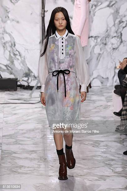 A model walks the runway during the Carven show as part of the Paris Fashion Week Womenswear Fall/Winter 2016/2017 on March 3 2016 in Paris France