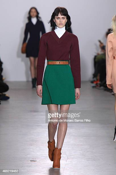 A model walks the runway during the Cedric Charlier show as part of the Paris Fashion Week Womenswear Fall/Winter 2015/2016 on March 4 2015 in Paris...