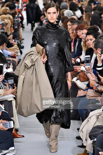 A model walks the runway during the Celine Ready to Wear Spring/Summer 2018 fashion show as part of the Paris Fashion Week Womenswear Spring/Summer...