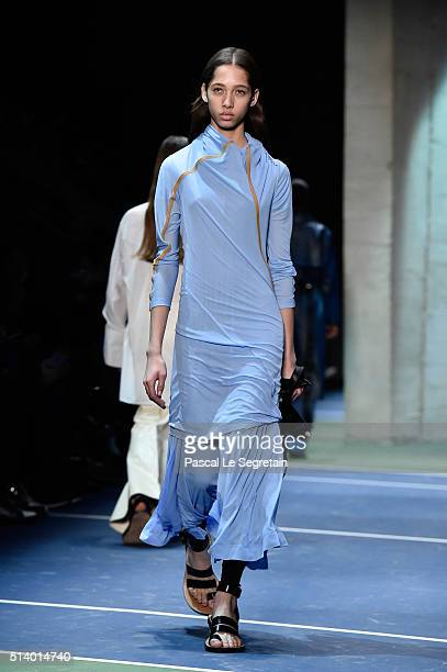 A model walks the runway during the Celine show as part of the Paris Fashion Week Womenswear Fall/Winter 2016/2017 on March 6 2016 in Paris France