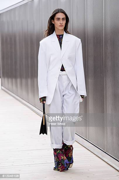A model walks the runway during the Celine show as part of the Paris Fashion Week Womenswear Spring/Summer 2017 on October 2 2016 in Paris France
