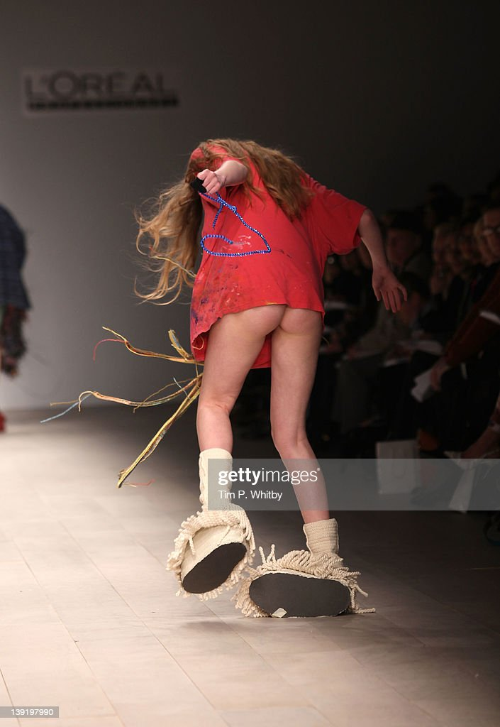 A model walks the runway during the Central Saint Martins MA Fashion show featuring student Luke Brooks at London Fashion Week Autumn/Winter 2012 at Somerset House on February 17, 2012 in London, England