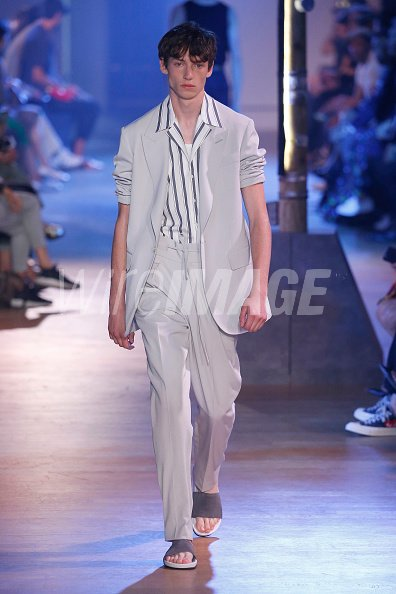 d6078fa240 A model walks the runway during the Cerruti 1881 Menswear Spring/Summer 2019  show as part of Paris Fashion Week on June 22, 2018 in Paris, France.