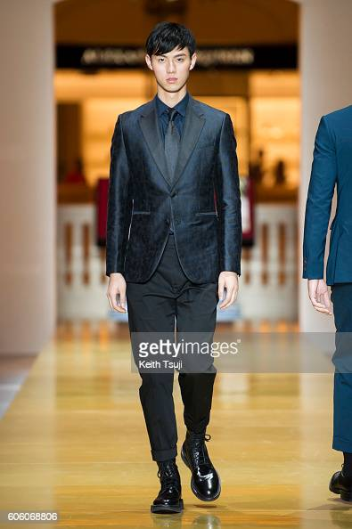 A model walks the runway during the CERRUTI 1881 show during the Front Row at Shoppes at Parisian on September 16 2016 in Macau Macau