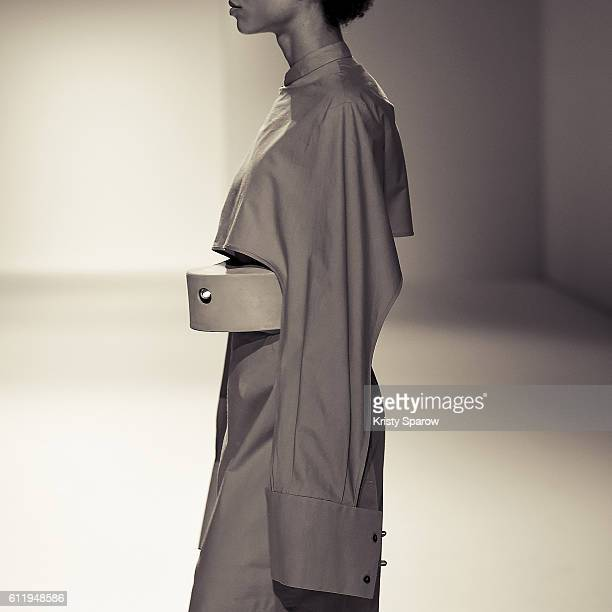 A model walks the runway during the Chalayan show as part of Paris Fashion Week Womenswear Spring/Summer 2017 on September 30 2016 in Paris France