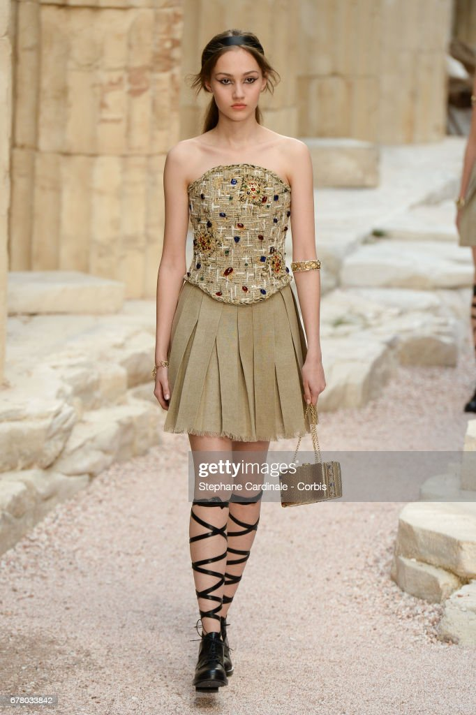 A Model walks the runway during the Chanel Cruise 2017/2018 Collection at Grand Palais on May 3, 2017 in Paris, France.