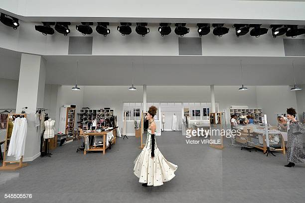 A model walks the runway during the Chanel Haute Couture Fall/Winter 20162017 show as part of Paris Fashion Week on July 5 2016 in Paris France