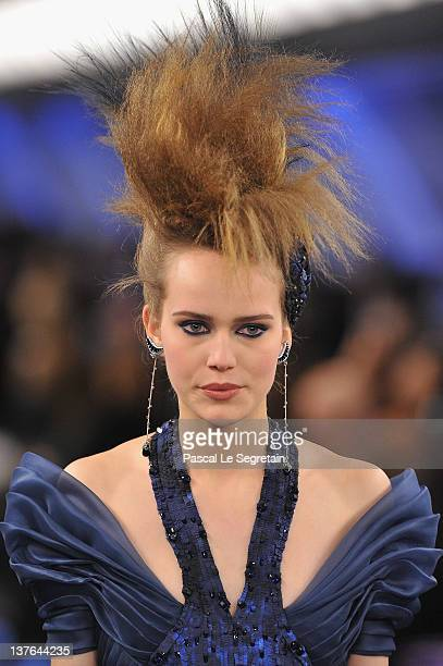 A model walks the runway during the Chanel HauteCouture Spring / Summer 2012 Show as part of Paris Fashion Week at Grand Palais on January 24 2012 in...
