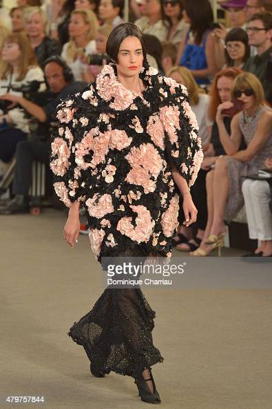 A model walks the runway during the Chanel show as part of Paris Fashion Week Haute Couture Fall/Winter 2015/2016 on July 7 2015 in Paris France