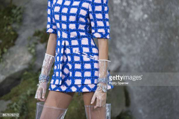 A model walks the runway during the Chanel show as part of Paris Fashion Week Womenswear Spring/Summer 2018 on October 3 2017 in Paris France