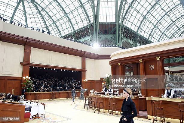 A model walks the runway during the Chanel show as part of the Paris Fashion Week Womenswear Fall/Winter 2015/2016 at Grand Palais on March 10 2015...