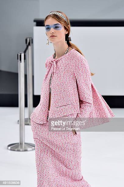 A model walks the runway during the Chanel show as part of the Paris Fashion Week Womenswear Spring/Summer 2016 on October 6 2015 in Paris France