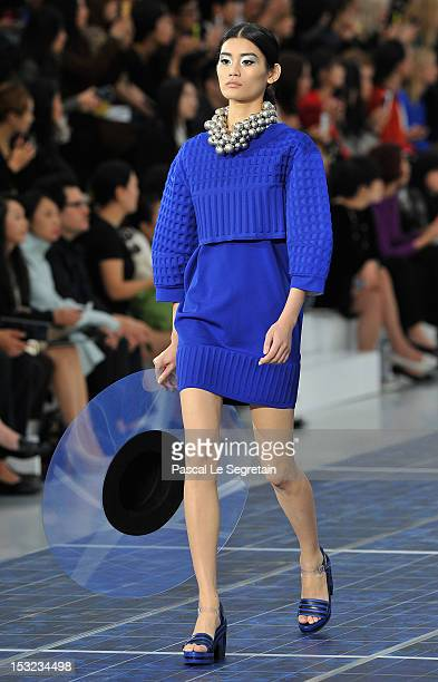 A model walks the runway during the Chanel Spring / Summer 2013 show as part of Paris Fashion Week at Grand Palais on October 2 2012 in Paris France