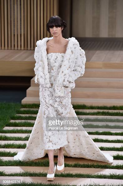 A model walks the runway during the Chanel Spring Summer 2016 show as part of Paris Fashion Week on January 26 2016 in Paris France