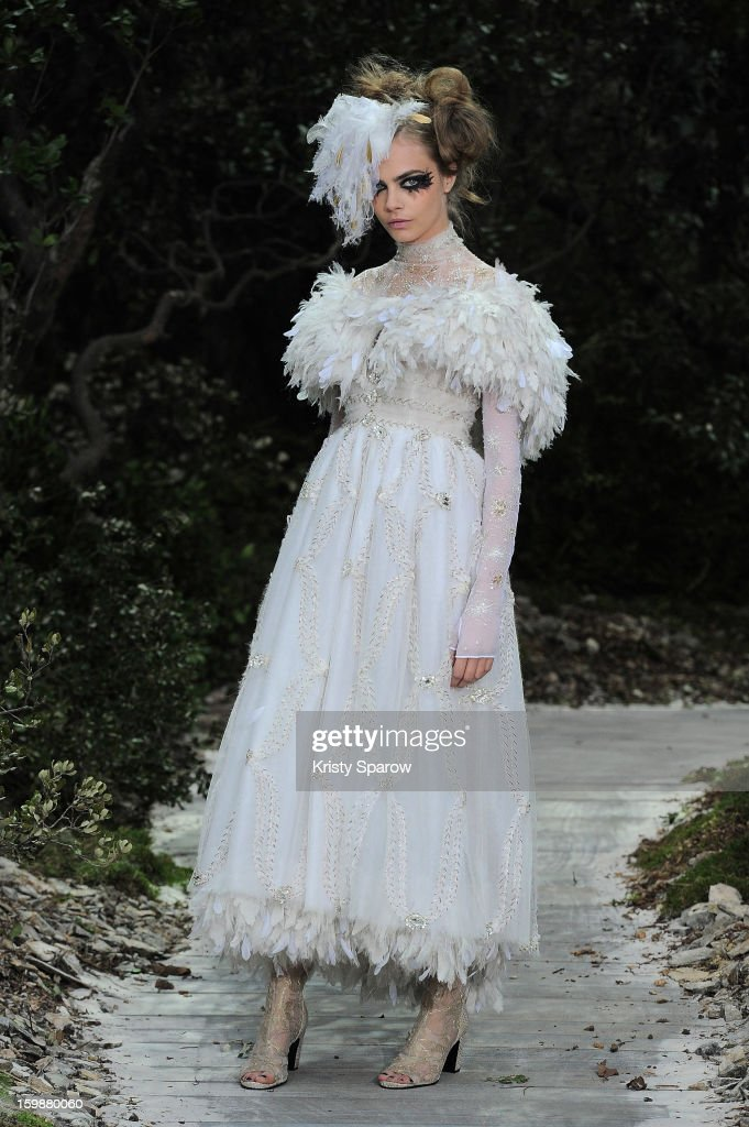 A model walks the runway during the Chanel Spring/Summer 2013 Haute-Couture show as part of Paris Fashion Week at Grand Palais on January 22, 2013 in Paris, France.