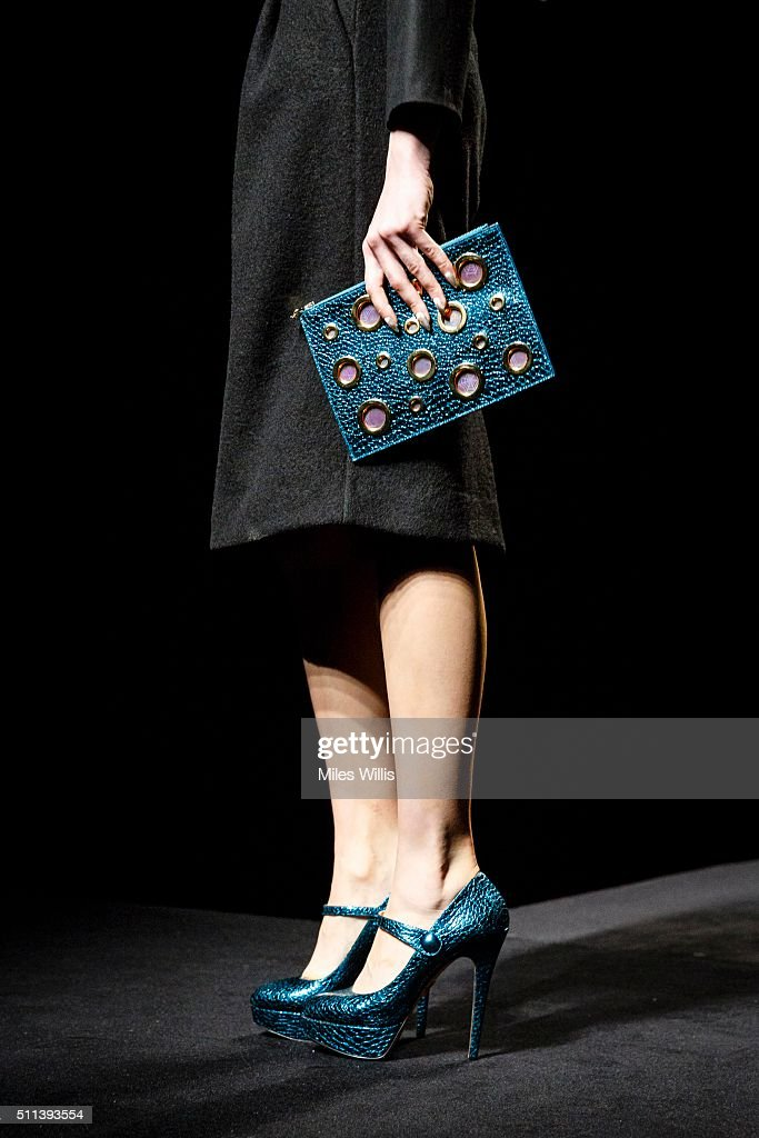 Model walks the runway during the charlotte olympia fall 16 lfw