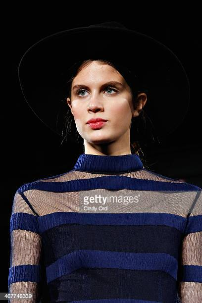 A model walks the runway during the Charlotte Ronson Fall 2014 Presentation during MercedesBenz Fashion Week at The Hub at The Hudson Hotel on...