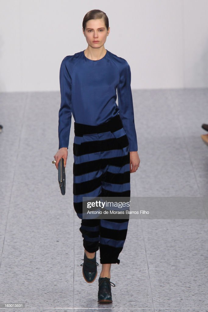A model walks the runway during the Chloe Fall/Winter 2013 Ready-to-Wear show as part of Paris Fashion Week on March 3, 2013 in Paris, France.