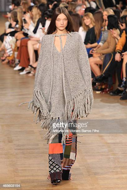 A model walks the runway during the Chloe show as part of the Paris Fashion Week Womenswear Fall/Winter 2015/2016 on March 8 2015 in Paris France
