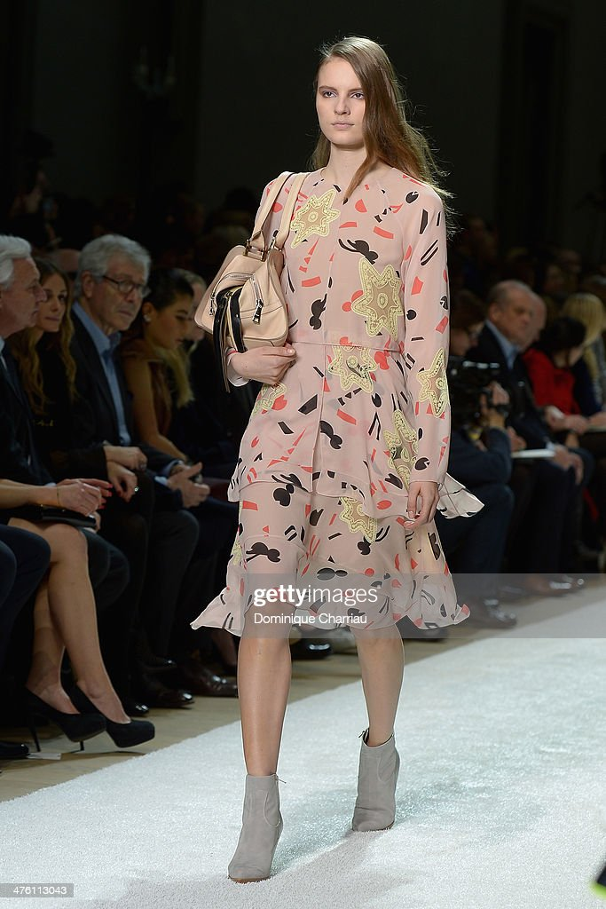 A model walks the runway during the Chloe show as part of the Paris Fashion Week Womenswear Fall/Winter 2014-2015 on March 2, 2014 in Paris, France.