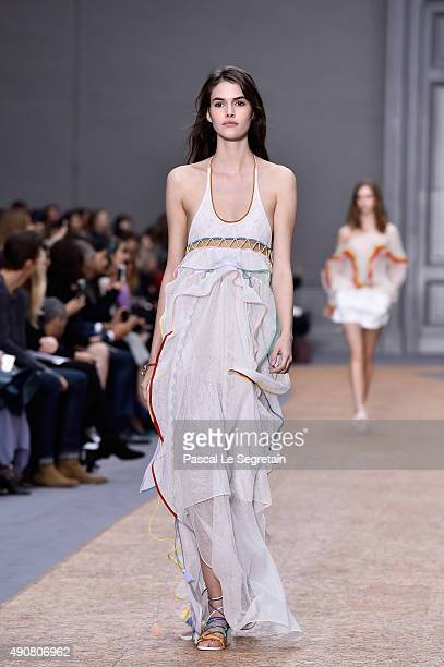 A model walks the runway during the Chloe show as part of the Paris Fashion Week Womenswear Spring/Summer 2016 on October 1 2015 in Paris France